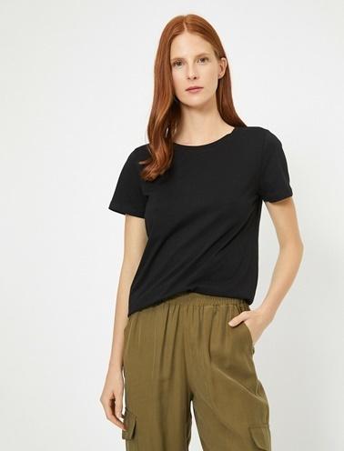 Koton Bisiklet Yaka Basic T-Shirt Siyah